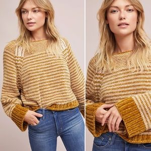 Anthropologie Maeve Chenille Striped Sweater